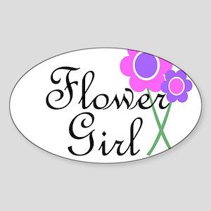 Purple Daisy Flower Girl Sticker (Oval)