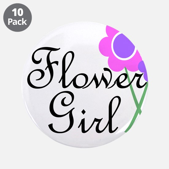 "Purple Daisy Flower Girl.png 3.5"" Button (10 pack)"
