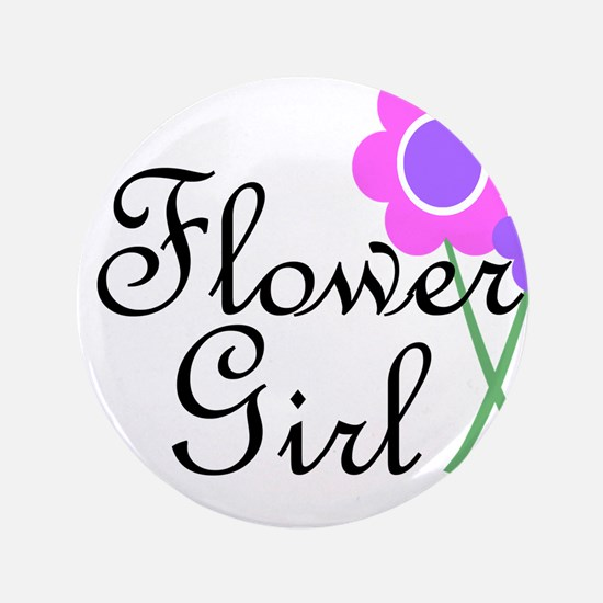 "Purple Daisy Flower Girl.png 3.5"" Button"