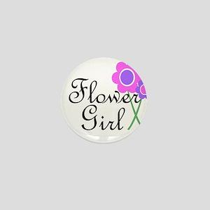 Purple Daisy Flower Girl Mini Button