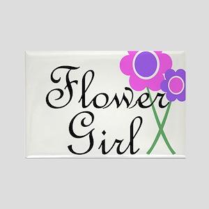 Purple Daisy Flower Girl Rectangle Magnet