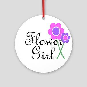 Purple Daisy Flower Girl Ornament (Round)