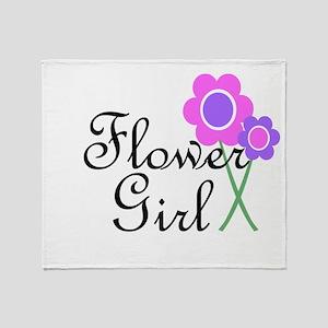 Purple Daisy Flower Girl Throw Blanket