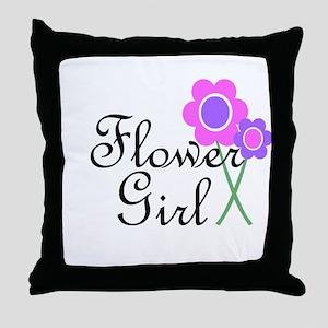 Purple Daisy Flower Girl Throw Pillow