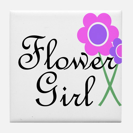 Purple Daisy Flower Girl.png Tile Coaster