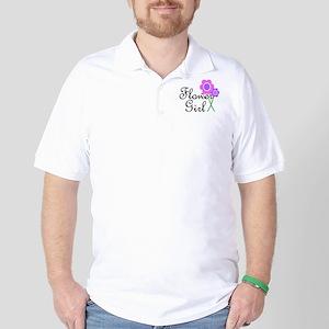 Purple Daisy Flower Girl Golf Shirt