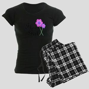 Purple Daisy Flower Girl Women's Dark Pajamas
