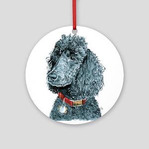 Black Poodle Whitney Ornament (Round)