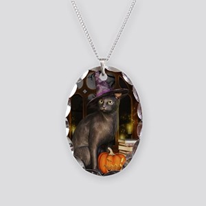 Witch Kitty Cat Necklace Oval Charm