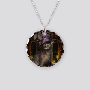 Witch Kitty Cat Necklace Circle Charm