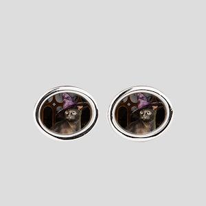 Witch Kitty Cat Oval Cufflinks