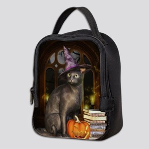Witch Kitty Cat Neoprene Lunch Bag