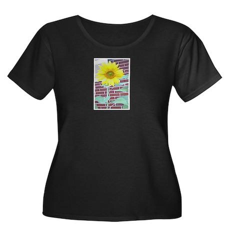 SunFlower Women's Plus Size Scoop Neck Dark T-