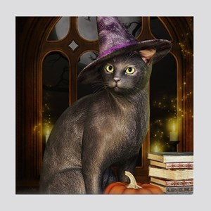 Witch Kitty Cat Tile Coaster
