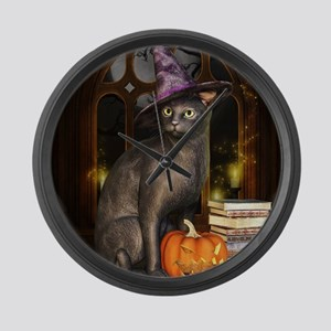 Witch Kitty Cat Large Wall Clock