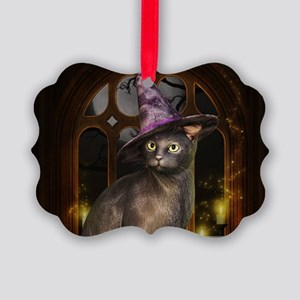 Witch Kitty Cat Picture Ornament