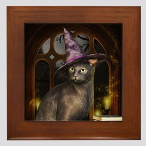 Witch Kitty Cat Framed Tile