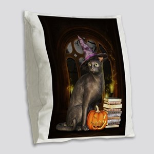 Witch Kitty Cat Burlap Throw Pillow