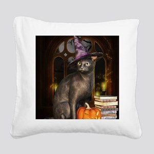 Witch Kitty Cat Square Canvas Pillow