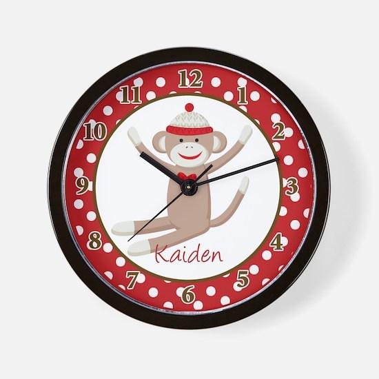 Sock Monkey Clock Wall Clock - Kaiden