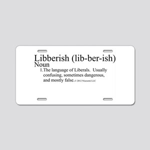 Libberish Definition BW Aluminum License Plate