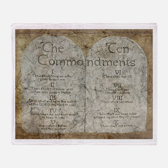 Ten Commandments 10 Laws Desi Throw Blanket