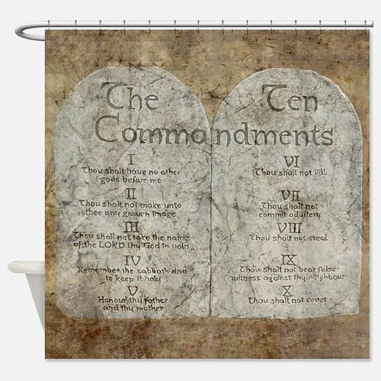 Ten Commandments 10 Laws Desi Shower Curtain