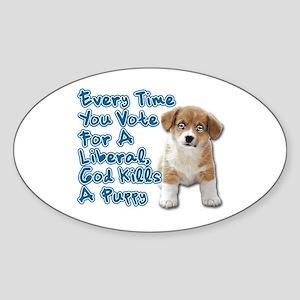 God Kills A Puppy Sticker (Oval)