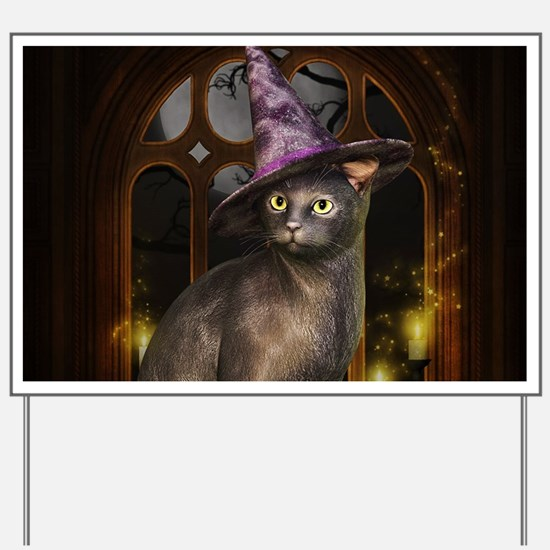 Witch Kitty Cat Yard Sign