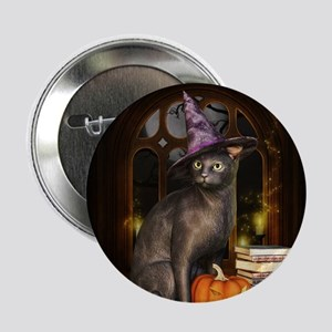"""Witch Kitty Cat 2.25"""" Button"""