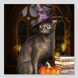 """Witch Kitty Cat Square Car Magnet 3"""" x 3"""""""