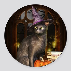 Witch Kitty Cat Round Car Magnet