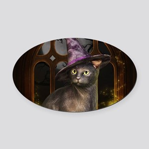 Witch Kitty Cat Oval Car Magnet