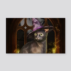 Witch Kitty Cat Rectangle Car Magnet