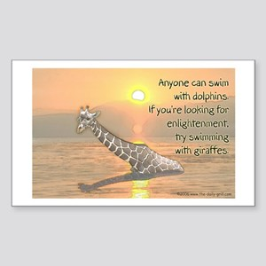 Swimming With Giraffes Rectangle Sticker