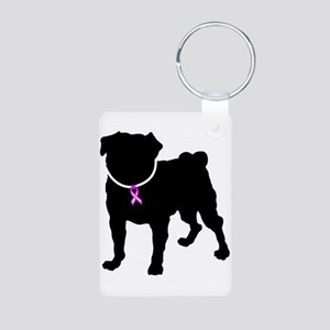 Pug Breast Cancer Support Aluminum Photo Keychain