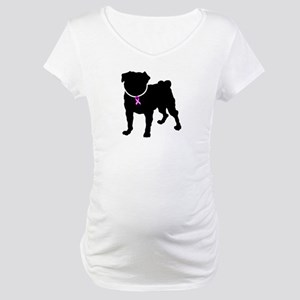 Pug Breast Cancer Support Maternity T-Shirt
