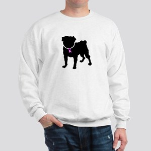 Pug Breast Cancer Support Sweatshirt