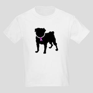Pug Breast Cancer Support Kids Light T-Shirt