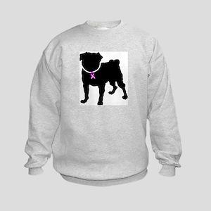 Pug Breast Cancer Support Kids Sweatshirt