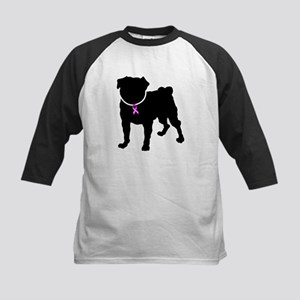Pug Breast Cancer Support Kids Baseball Jersey