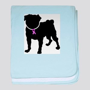 Pug Breast Cancer Support baby blanket