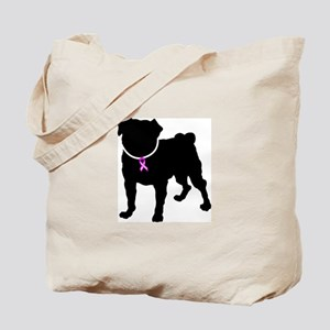 Pug Breast Cancer Support Tote Bag