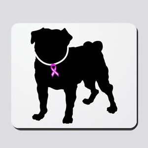 Pug Breast Cancer Support Mousepad