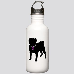 Pug Breast Cancer Support Stainless Water Bottle 1