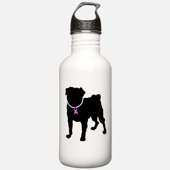 Pug Breast Cancer Support Water Bottle