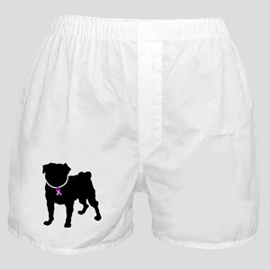 Pug Breast Cancer Support Boxer Shorts