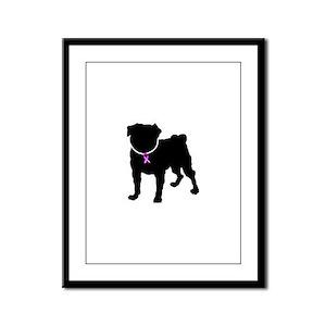 Pug Breast Cancer Support Framed Panel Print