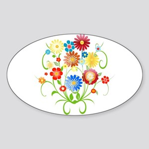 Floral bright pattern Sticker (Oval)