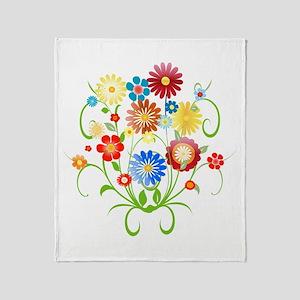 Floral bright pattern Throw Blanket